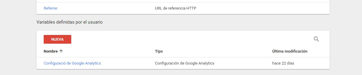 Configuración Analytics Tag Manager