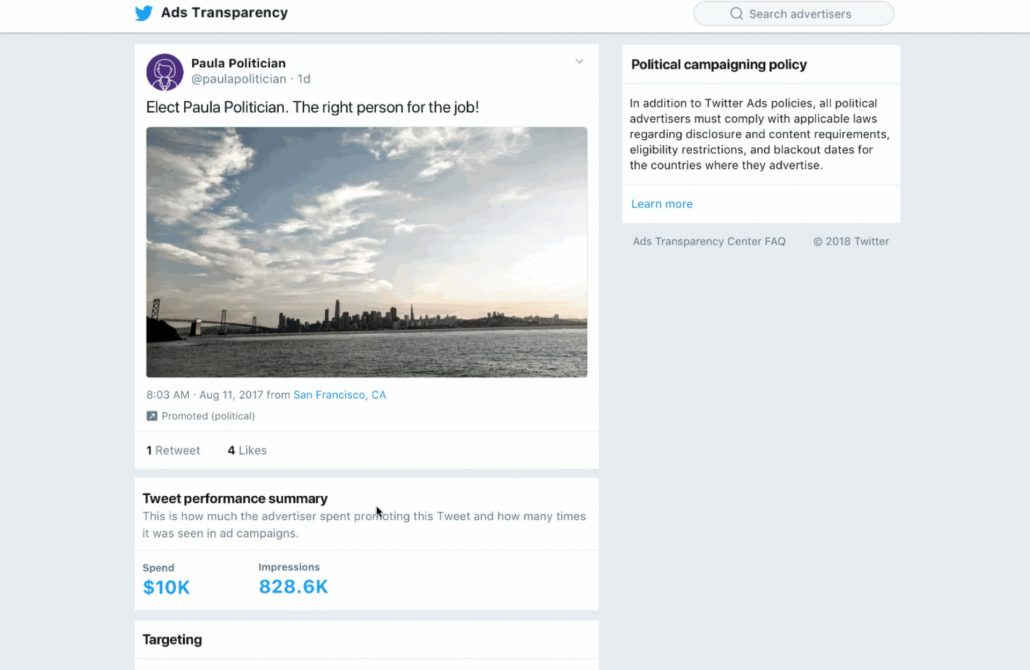 ejemplo ads transparency twitter
