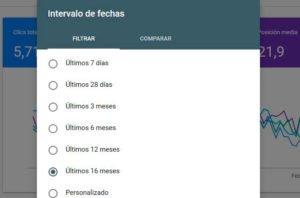 Intervalo de fechas Beta Webmaster Tools