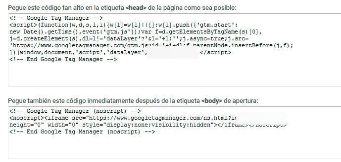 Código que se tiene que insertar en la web del Tag Manager