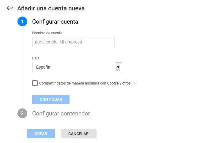 Crear cuenta en Google Tag Manager